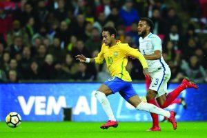 Brasil encerra temporada com empate contra Inglaterra em Wembley