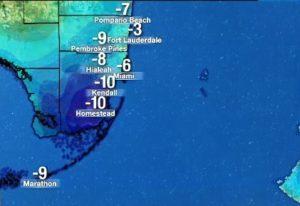 2df729099 Todo o sul da Flórida registrou nova queda na temperatura. Imagem> Local 10.