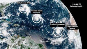 Florence se fortalece e novos sistemas se formam no Atlântico