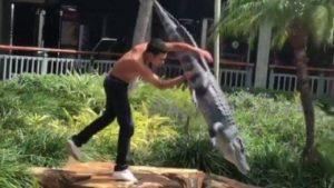 Adolescente é preso após lutar com falso jacaré em shopping de Miami
