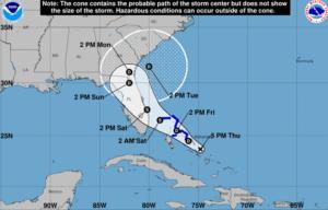 Ciclone nas Bahamas tem 80% de passar para tempestade tropical e vir para a Flórida