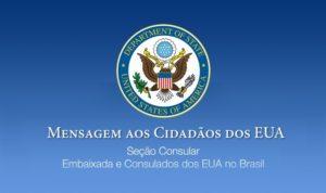Embaixada dos EUA pede que cidadãos americanos no Brasil retornem aos EUA