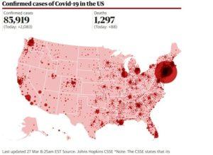 Com mais de 85 mil casos confirmados, EUA são o novo epicentro global de coronavírus